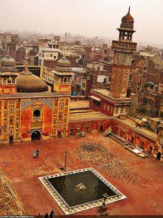 Mosque's Inner courtyard in Lahore, Pakistan.