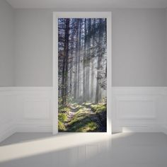 "Door Wall Sticker Path through a Forest - Peel & Stick Repositionable Fabric Mural 31""w x 79""h (80 x 200cm)"