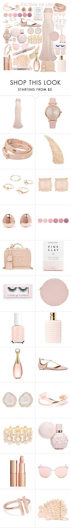 """prom style- rose gold"" by que2001 ❤ liked on Polyvore featuring Jason Wu, Vivani, Tory Burch, Ariella Collection, Monica Vinader, Deborah Lippmann, Chanel, Herbivore, Boohoo and Kara"