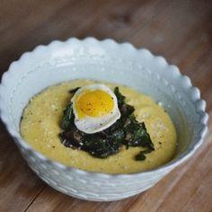 Parmesan polenta with sautéed ruby chard and a fried quail egg.
