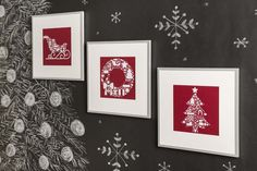 This set of amazing Christmas art will brighten your walls and add Christmas spirit to your home. Space Projects, Art Projects, Project Ideas, Christmas Wall Art, Christmas Ideas, Xmas Decorations, Cricut Design, Gallery Wall, Wall Decor