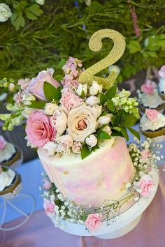 Cake topped with fresh flowers from a Secret Garden Birthday Party on Kara's Party Ideas | KarasPartyIdeas.com (14)