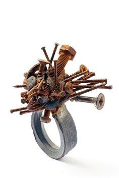 Karl Fritsch  Screw ring  2010  silver, nails, screws