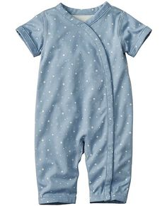 The comfiest of rompers snuggles little ones in ultra-huggable organic pima softness and stretches gently with every wiggle. Snap front for effortless changing.  <br>•100% organic pima cotton interlock  <br>•Easy full snap front  <br>•Super-smooth flatlock seams  <br>•Certified by OEKO-TEX® Standard 100   03.U.9375 - FI Hohenstein <br>•Prewashed  <br>•Imported