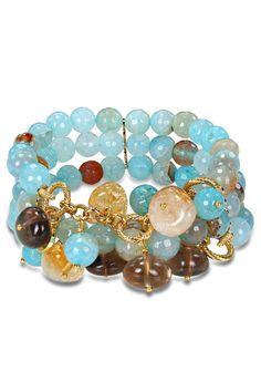 Aqua Blue Agate & Quartz Bead Stretch Bracelet.