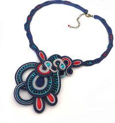 Statement teal necklace soutache OOAK soutache large by sutaszula