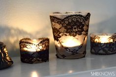 Add lace ribbon around candles for a touch of elegance. #CandleHolders #Lace #DIY