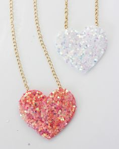 Wear your heart around your neck with this quick and easy glitter DIY.