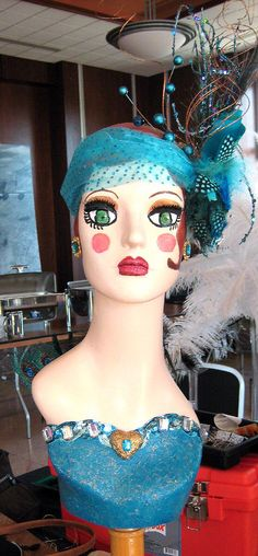 Hand painted mannequin head for Art Deco themed charity fund raiser