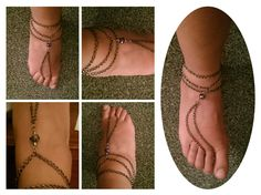 Slave anklet in gunmetal chain and faceted silver glass crystals with silver bicones and gunmetal finish.