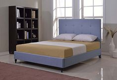 Home Life Cloth Light Blue Linen Platform Bed with Slats King  Complete Bed 5 Year Warranty Included * Click on the image for additional details.