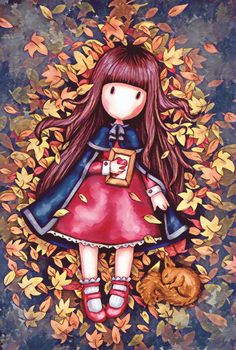 Free Wallpaper Backgrounds, Cute Wallpapers, Autumn Illustration, Cute Illustration, Cute Images, Cute Pictures, Autumn Leaves Wallpaper, Santoro London, Cute Cartoon Girl