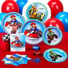Mario Kart Wii Standard Party Pack for 16 Wii Party, Mario Party, Party Kit, Party Packs, Foil Balloons, Latex Balloons, Crepe Paper Rolls, Super Mario Birthday, Party Themes