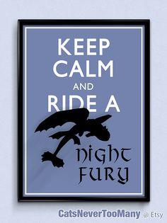 Gardez votre calme et de monter un Night Fury   Comment former votre dragon, affiche sans dents, garder calme affiche, impression de dragon, art, affiche du film de dessin animé