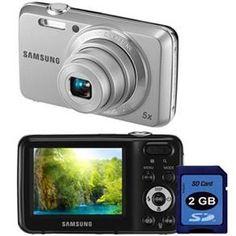 """Câmera Digital Samsung ES80 Prata c/ 12.2 MP, LCD 2.3"""", Zoom Óptico 5x, Detector de Faces e Detector de Sorrisos + Cartão SD 2GB"""