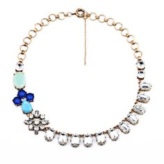 Free Shipping New Arrival Vintage Encrusted Crystal Row Blue Resin Beads Statement Bubble Necklace Bridal Wedding Party Jewelry  $16.99