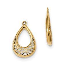 14k Yellow Gold Filigree Teardrop Earring Jacket For
