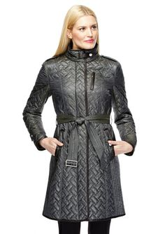 Cole Haan Women's Belted Signature Quilted Coat, Dusty Olive ... : quilted belted coat - Adamdwight.com