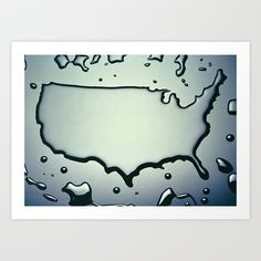 USA Map in Liquid Water US Outline United States Art Print by Twilight Productions - $35.00