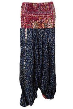 Mogul Harem Pants Blue Floral Vintage Silk Jumpsuit Boho Trouser Mogul Interior http://www.amazon.com/dp/B016OJHQFC/ref=cm_sw_r_pi_dp_siwiwb1JR4RN0