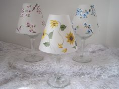 Vellum Handpainted Wine Glass Tealight by AScentFromTheHeart, $5.00