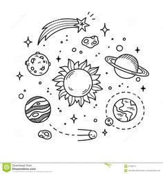 space doodles doodle drawings solar system line planets sun hand outer decorative drawn planet simple drawing easy hostted cosmic objects