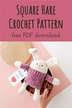 FREE EASY CROCHET KID'S TOY PATTERN Featuring huggable Bernat Baby Velvet, simple shaping create this adorable bunny buddy for kids of all ages. A thoughtful gift for anyone who needs a cuddle or stuffer for their Easter Basket, you'll thoroughly enjoy this project from start to finish! #freecrochetpattern #eastercrochet #crochetforkids #yarnspirations Easter Crochet, Crochet For Kids, Free Crochet, Easy Crochet Patterns, Crochet Patterns Amigurumi, Knitting Patterns, Back Post Double Crochet, Crafts For Kids To Make, Stuffed Toys Patterns