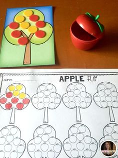 """Apples Preschool and Kindergarten is full of hands on science, math and literacy activities and centers. Students will """"flip"""" for Apple Flip. This activity introduces math chips and students can practice counting objects."""
