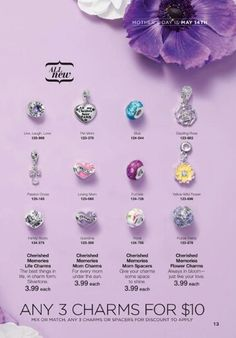 Get Any 3 charms for $10, $3.99 each. Charms include: Loving Mom, Grandma, Live, Laugh, Love; Pet Mom, Blue, Dazzling Rose, Passion Cross, Fuchsia, Yellow Wild Flower,  Family Roots, Floral, & Purple Fields. A Charm for every Memory.   #giftsforher #mothersdaygift #charmbracelet #charmnecklace #cherishedmemories