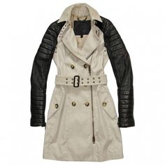 Beige Cotton Trench coat BURBERRY PRORSUM (1,545 CAD) ❤ liked on Polyvore featuring outerwear, coats, double-breasted trench coat, button coat, quilted coat, buckle coats and trench coat