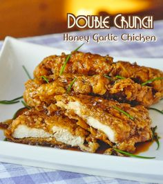 Double Crunch Honey Garlic Chicken Breast Recipe breaded, fried and dipped in a yummy honey sauce. Also includes recipe for Double Crunch Honey Garlic Pork Chops. Popular Recipes, Great Recipes, Favorite Recipes, Rock Recipes, Dinner Recipes, Dinner Ideas, Popular Food, Delicious Recipes, Chicken Recipes For Dinner