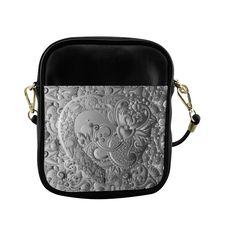 Black and White Heart Pattern Sling Bag (Model 1627)