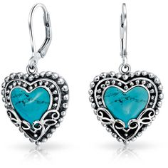 Vintage Bali Style Turquoise Heart Leverback Earrings 925 Silver ($40) ❤ liked on Polyvore featuring jewelry, earrings, blue, dangle-earrings, heart dangle earrings, blue heart earrings, vintage dangle earrings, dangle earrings and silver heart earrings
