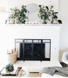 white pumpkins and greenery on fireplace // fireplace decor // fall fireplace decor Fall Home Decor, Autumn Home, Cheap Home Decor, Fall Mantle Decor, Modern Fall Decor, Modern Mantle, Mantle Greenery, Modern Fireplace Decor, Living Room Decor Fireplace