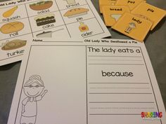 Word wall, sequencing cards, and writing prompts for the book, I Know an Old Lady Who Swallowed a Pie