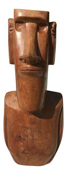 Mid-Century Wood Tiki God Sculpture