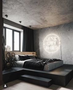 Elevated bed with a view. Elevated bed with a view. Elevated bed with a view. Elevated bed with a vi Industrial Bedroom Design, Modern Bedroom Design, Home Room Design, Contemporary Bedroom, Bedroom Designs, Industrial Apartment, Modern Room, Industrial Interiors, Industrial Furniture