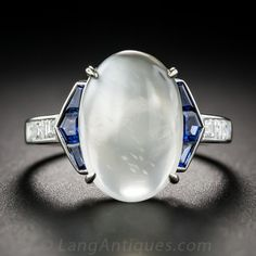 Moonstone, Sapphire, Platinum and Diamond Art Deco Style Ring