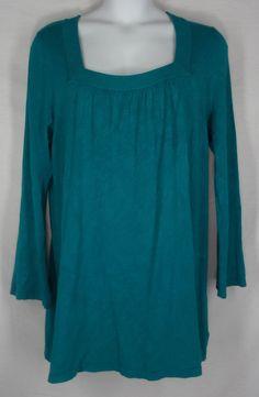 LANE BRYANT Tunic 18 20 Green Top Sweater Long Sleeve Plus Rayon Nylon Solid #LaneBryant #Tunic