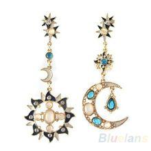 New Style Fashion Star Sun Moon Rhinestone Crystal Stud Dangle Pretty Earrings for women 0283(China (Mainland))