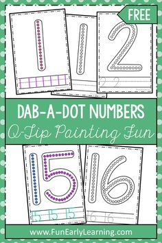 Dab-a-Dot Numbers Q-Tip Painting Math Activity. Great free printable for numbers and number writing in preschool, kindergarten, and early education. - Kids education and learning acts Numbers Kindergarten, Numbers Preschool, Learning Numbers, Free Preschool, Preschool Printables, Preschool Kindergarten, Preschool Ideas, Number Writing Practice, Writing Numbers