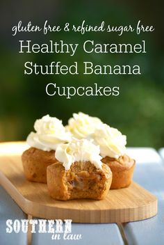 A seriously decadent cupcakes that is secretly healthy! These Healthy Caramel Stuffed Banana Cupcakes are a must make. Filled with a sugar free date caramel, these cupcakes are refined sugar free, gluten free, high protein, low calorie, low fat, lower carb and clean eating friendly!