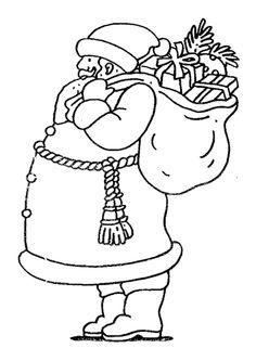 Drôle de père noël se tenant debout avec son gros ventre, dessin à colorier