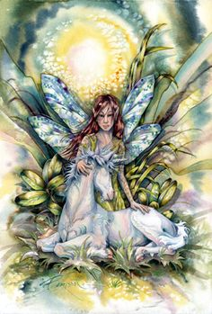 When You Hold Onto Your Dreams by Jody Bergsma ~ fairy Unicorn And Fairies, Elves And Fairies, Unicorn Fantasy, Doreen Virtue, Fantasy Creatures, Mythical Creatures, Fantasy Kunst, Fantasy Art, Tattoo Painting
