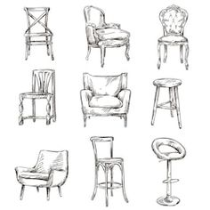 Buy Set of Hand Drawn Chairs by kamenuka on GraphicRiver. Set of hand drawn chairs interior detail Interior Architecture Drawing, Architecture Sketchbook, Interior Design Sketches, Drawing Furniture, Chair Drawing, Furniture Sketches, Object Drawing, Drawing Sketches, Drawings