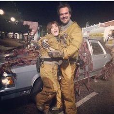 Hopper ( David ) and Joyce ( Winona ) on the set ❤️