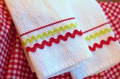 Rick Rack Dishtowels - super cute for different holidays.