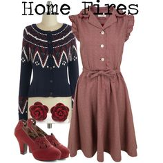1940s // home fires inspired by onceuponanovel on Polyvore featuring YMC, Pink Martini and Miss L Fire
