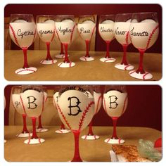 Hand painted wine glasses baseball mom