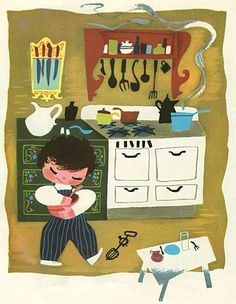 """green kitchen cabinets with folk art design, illustration by Mary Blair for the book """"Baby's House"""" (c. 1950)"""